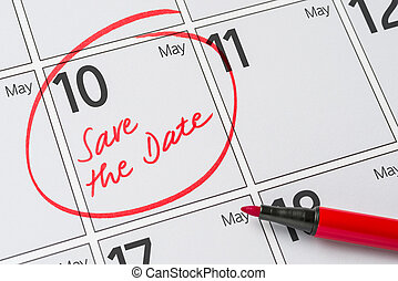 10, mai, -, écrit, date, calendrier, sauver