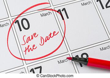10, mars, -, écrit, date, calendrier, sauver