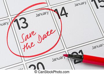 13, janvier, -, écrit, date, calendrier, sauver