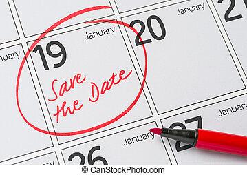 19, janvier, -, écrit, date, calendrier, sauver