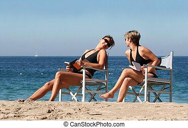 2, plage, femmes