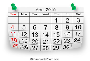 2010, avril, calendrier