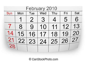 2010, février, calendrier