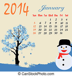 2014, calendrier, janvier