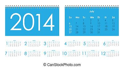 2014, calendrier, vecteur