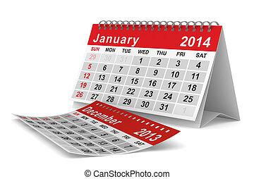 2014, image, année, isolé, calendar., january., 3d