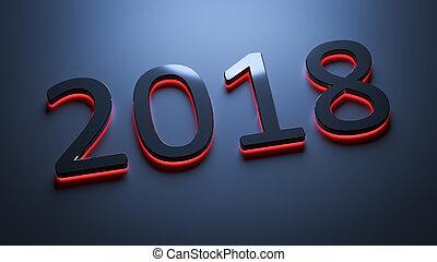 2018, nouvel an, nombre, fetes