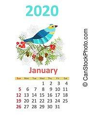 2020, calendrier, janvier