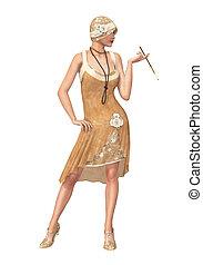 20s, robe, chasse-mouches, danseur fille, rugir