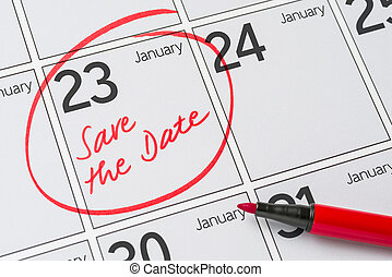23, janvier, -, écrit, date, calendrier, sauver
