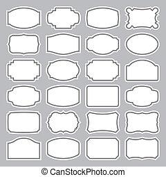 24, étiquettes, ensemble, (vector), vide