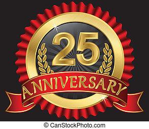 25, années, doré, anniversaire