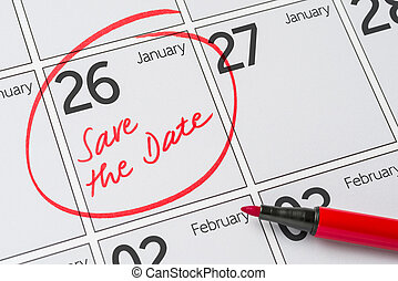 26, janvier, -, écrit, date, calendrier, sauver
