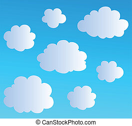 3, nuages, dessin animé, collection