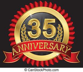 35, doré, anniversaire, années