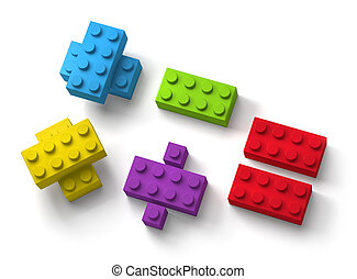 3d, bloc, fond, blanc, bâtiment, jouet, mathématique, symboles