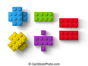 3d, blocs, fond, blanc, bâtiment, jouet, mathématique, symboles