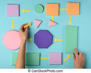 3d, couleur, femme, fabrication papier, chart., couler, blocs