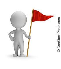 3d, gens, rouges, -, petit, drapeau