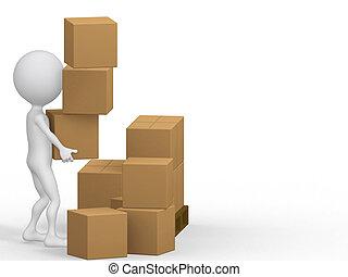 3d, porter, boxes., carton, gens