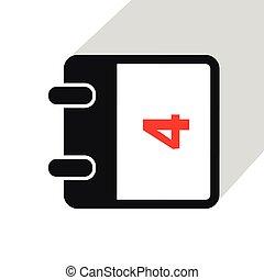 4, calendrier, blanc, simple, icône, fond