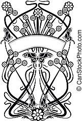 6, conception, flourishes, vendange, élément, drapeau