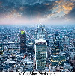aérien, crépuscule, moderne, abrutissant, horizon, vue, london.