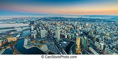 aérien, minato, cityscape, pamorama, yokohama, mirai, front mer, district.;, vue