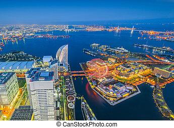 aérien, nuit, district., minato, cityscape, yokohama, mirai, front mer, vue