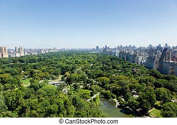 aérien, parc, central, vue