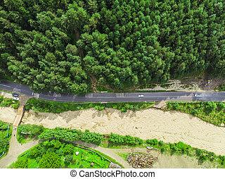aérien, route, après, eau, inondation, forêt, vue