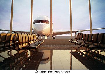 aéroport, terminal.