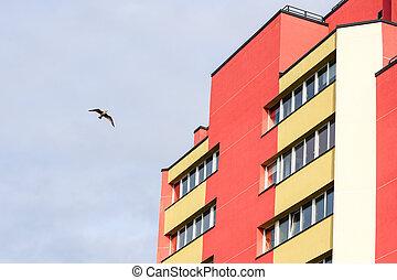 a, bâtiment, rénové, appartement, façade, été, juste, fragment
