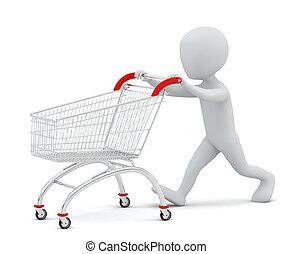 achats, gens, -, cart., petit, 3d