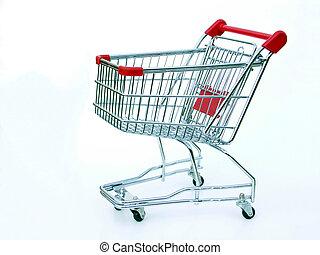 achats, vide, charrette