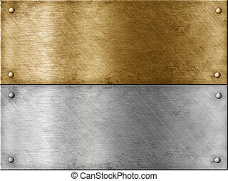 acier, ensemble, or, (brass), métal, inclure, plaques, (copper), ou, bronze