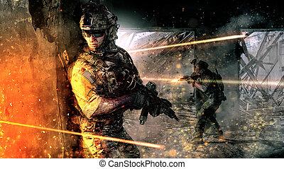 action, soldats, armée