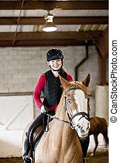 adolescent, équitation, girl, cheval