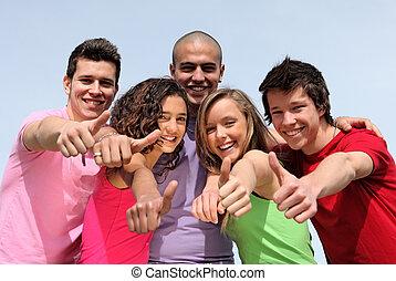 adolescents, divers, groupe