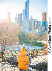 adorable, ice-rink, parc, york, girl, central, vue, peu, ville, nouveau