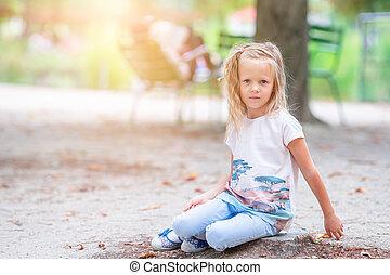 adorable, mode, dehors, girl, tuileries, jardins, paris, peu