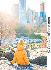 adorable, ville, nouveau, ice-rink, petite fille, central, vue, parc, york