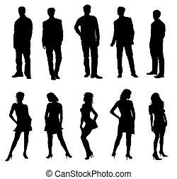adultes, silhouettes, noir, blanc, jeune
