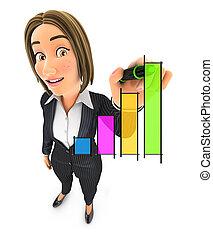 affaires femme, graphique, main, dessiné, 3d