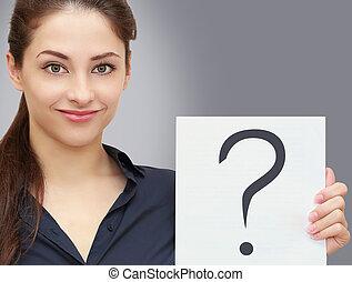 affaires femme, question, demande, gris, signe, tenue, vide