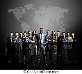 affaires gens, équipe, mondial
