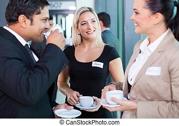 affaires gens, avoir, pendant, coupure, séminaire, café