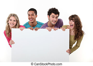 affiche, amis, groupe, tenue, vide
