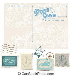 affranchissement, carte postale, -, conception, invitation, timbres, retro, mariage, album, félicitation