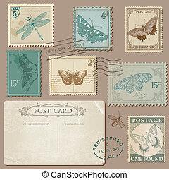 affranchissement, carte postale, vendange, -, timbres, invitation, papillons, mariage, album, conception